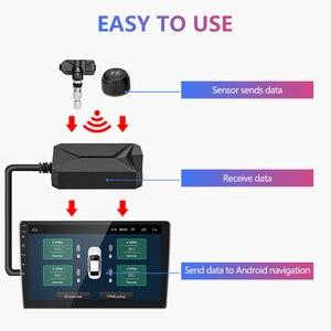 Image 2 - Jansite usbアンドロイドtpms車のタイヤ空気圧警報監視システム4つのセンサと車両androidプレーヤー温度警告