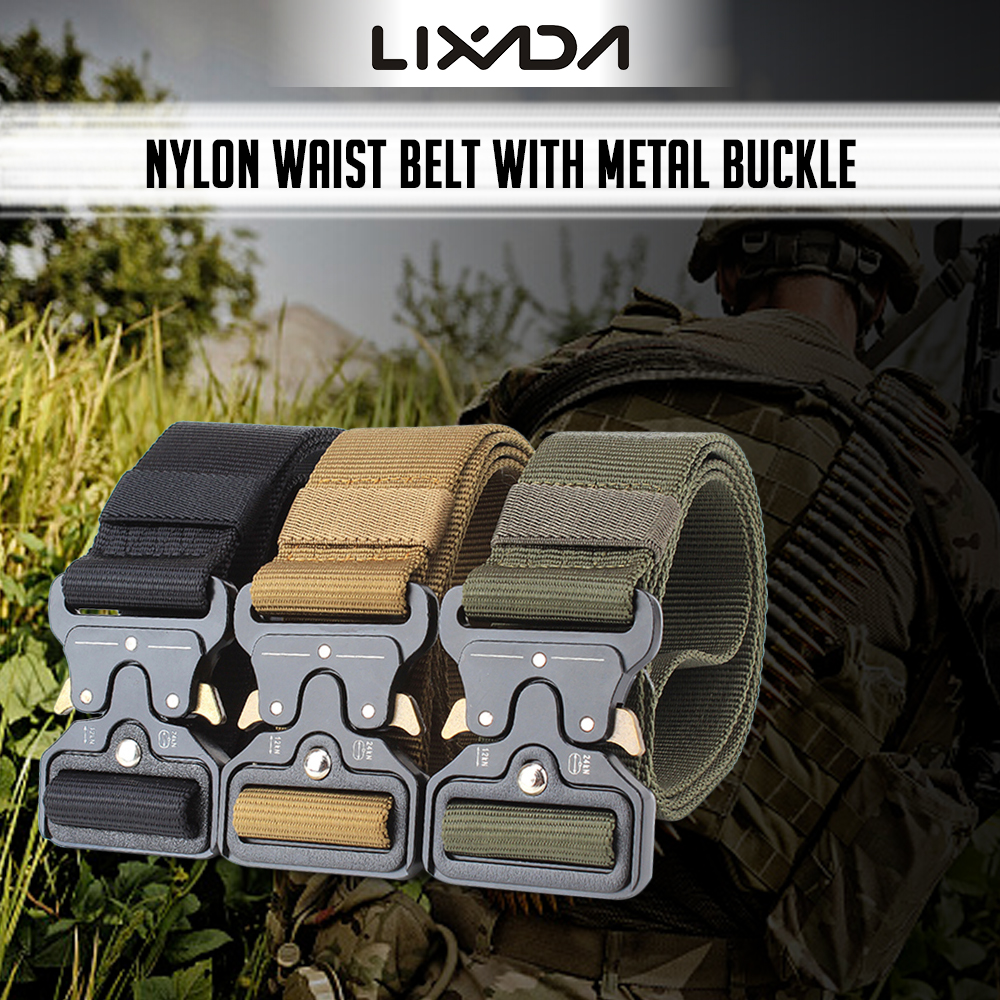 Lixada Tactical Belts Nylon Military Waist Belt with Metal Buckle Adjustable Heavy Duty Training Waist Belt Hunting Accessories in Waist Support from Sports Entertainment