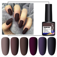 Lemooc 8ml matte revestimento superior cor uv gel unha polonês marrom escuro série semi permanente embeber fora uv gel verniz diy arte do prego gel
