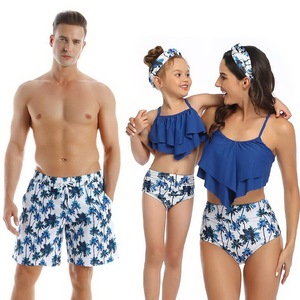 Matching Family Bikini Swimsuit For Father Mother Son Daughter Children Kids Beach Short Swimwear Women Bathing Suit bodysuit(China)