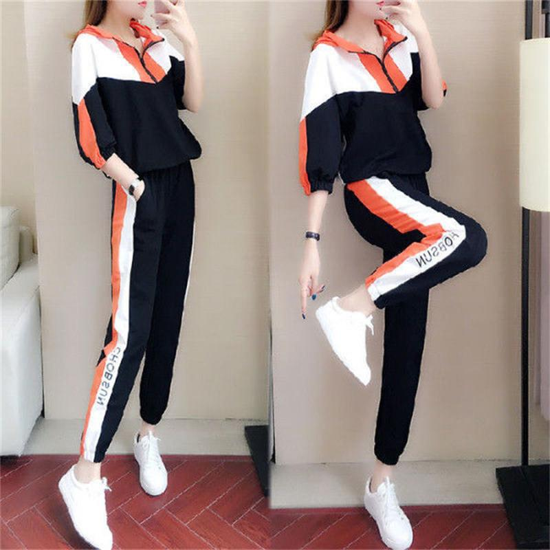 size loose casual suit female 2020 new autumn sports fashion trend hooded midsleeved sweater twopiece suit Women Sports Suit 27