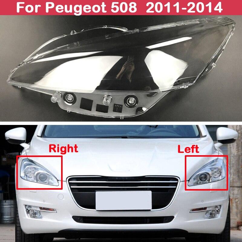 Tapas de cubierta de la lámpara delantera del faro de la pantalla de la luz de la cabeza brillante del coche para Peugeot 508 2011-2014