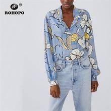 ROHOPO Autumn Women Daisy Sly Blue Blouse Chic Ladies Short Floral Top Shirt #9233