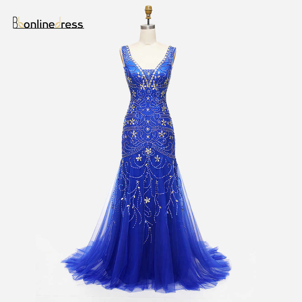 Tanie elegancka syrenka suknia wieczorowa kryształ zroszony dekolt szampana szampana suknie wieczorowe darmowa wysyłka sukienki na przyjęcie formalne