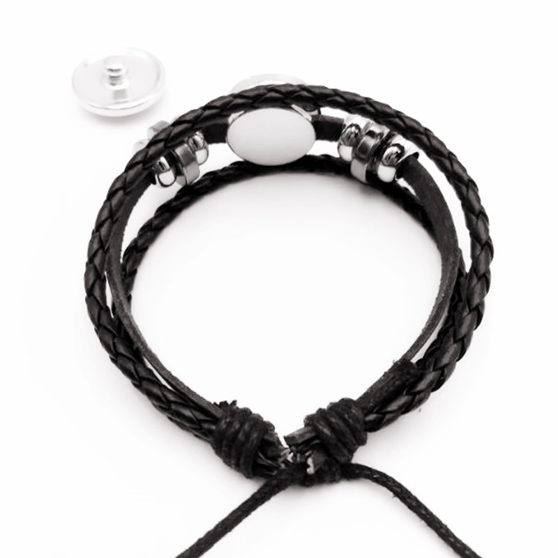 2019 New Hot Latest Fashion Rock Band Men 39 s Glass Badge Glass Convex Round Hip Hop Men 39 s Leather Bracelet in Charm Bracelets from Jewelry amp Accessories