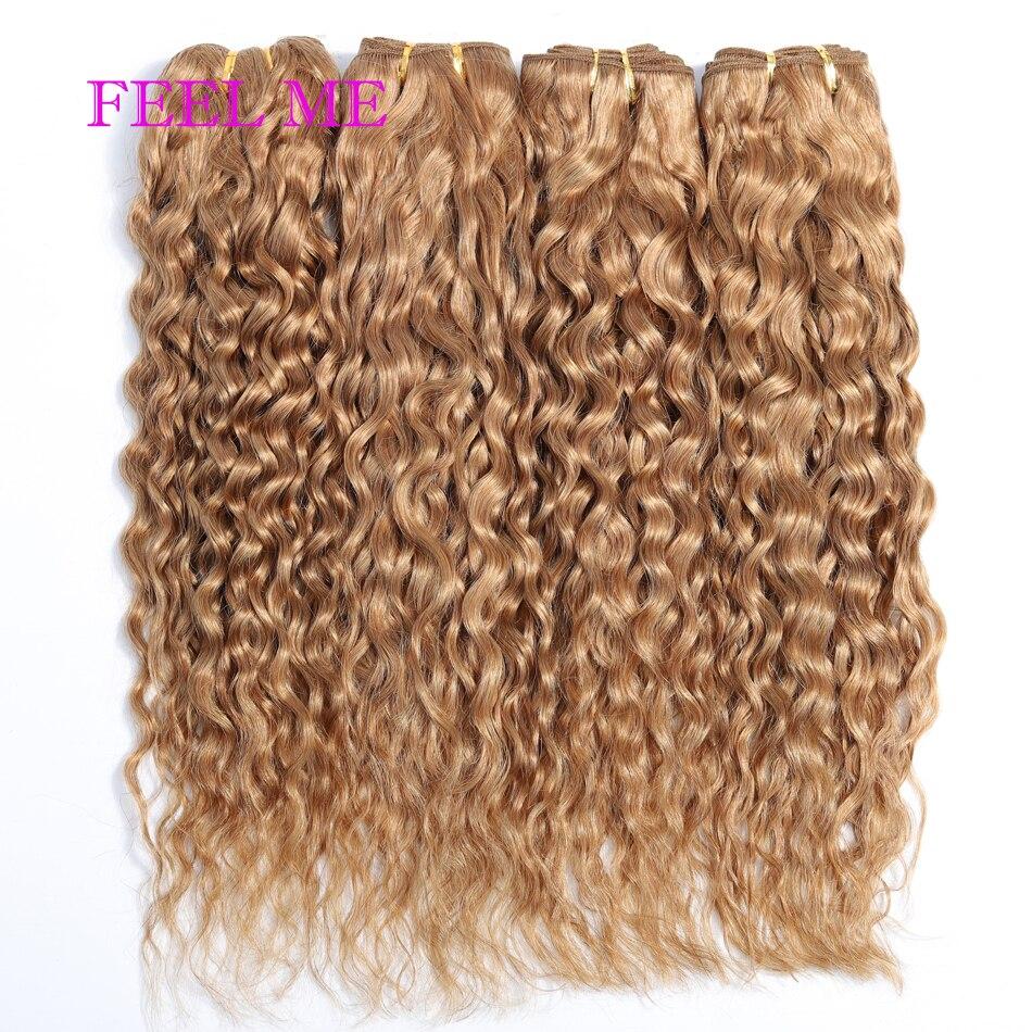 FEELME #27 bal sarışın su dalgası insan saç demetleri siyah 1/3/4 adet brezilyalı su dalgalı saç uzantıları Remy saç satılık