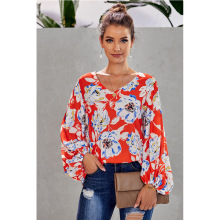 Fashion Print Shirt Top New Loose Shirt Print Loose V-neck Lantern Sleeve Top women gathered sleeve mixed print wrap top
