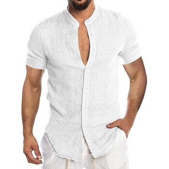 Men's New Summer Casual Cotton Linen Short Sleeve Button Down Shirt For Man Casual Shirts Cotton Shirts Long Sleeve Men Print Shirts Shirts & Tops Slim Fit Summer Shirts T-Shirts Work Shirts Color: Short-White Size: European Size 3XL