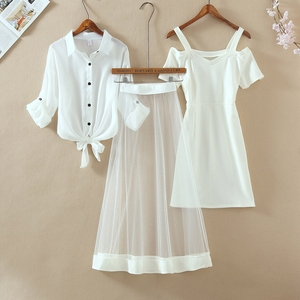 Autumn New Three Piece Sets Fashion Outfits White Long Sleeve Shirt Cold Cut Out Off Shoulder Mini Dress Long Mesh Sheer Skirts