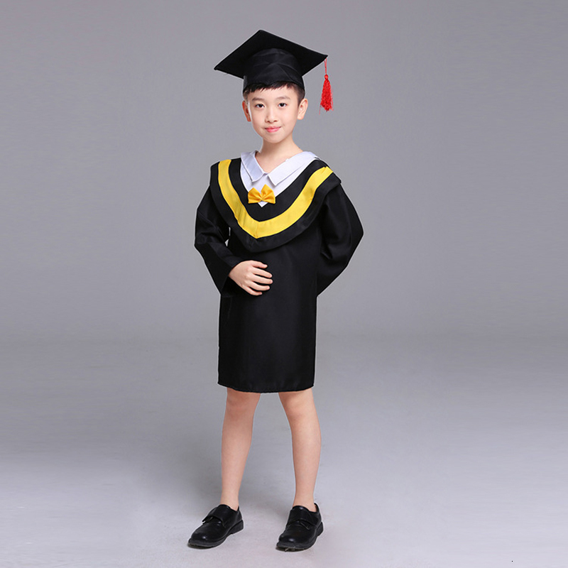 Kids Bachelor Gown Students Graduation Uniform Girl Boy Doctor Performance Cosplay Costume Children School Class Team Party Wear