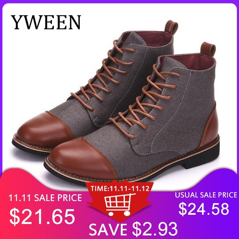 YWEEN printemps automne décontracté à lacets chaussures chaussons hommes bottines Oxfords mode cuir bottes hommes bottes grande taille 39-48