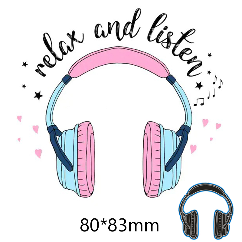 Relax And Listen Headset New Metal Cutting Dies Scrapbook Paper Decoration Embossing DIY Paper Card Craft 80*83 Mm
