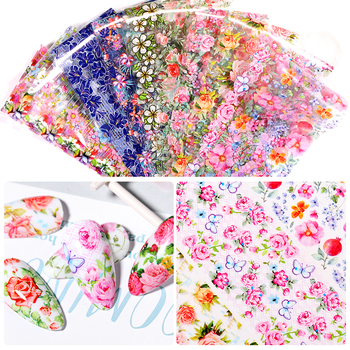 10 Pcs Rose Flowers Nail Foils Tropical Leaves Colorful Nail Decals Transfer Decorations Sets for Manicuring DIY Sticker Slide 17