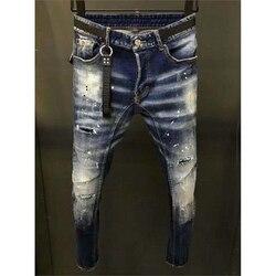 Мужские джинсы скинни с металлическими буквами, итальянские брендовые рваные джинсы, байкерские джинсы, мужские брюки, байкер хипхоп, узкие...