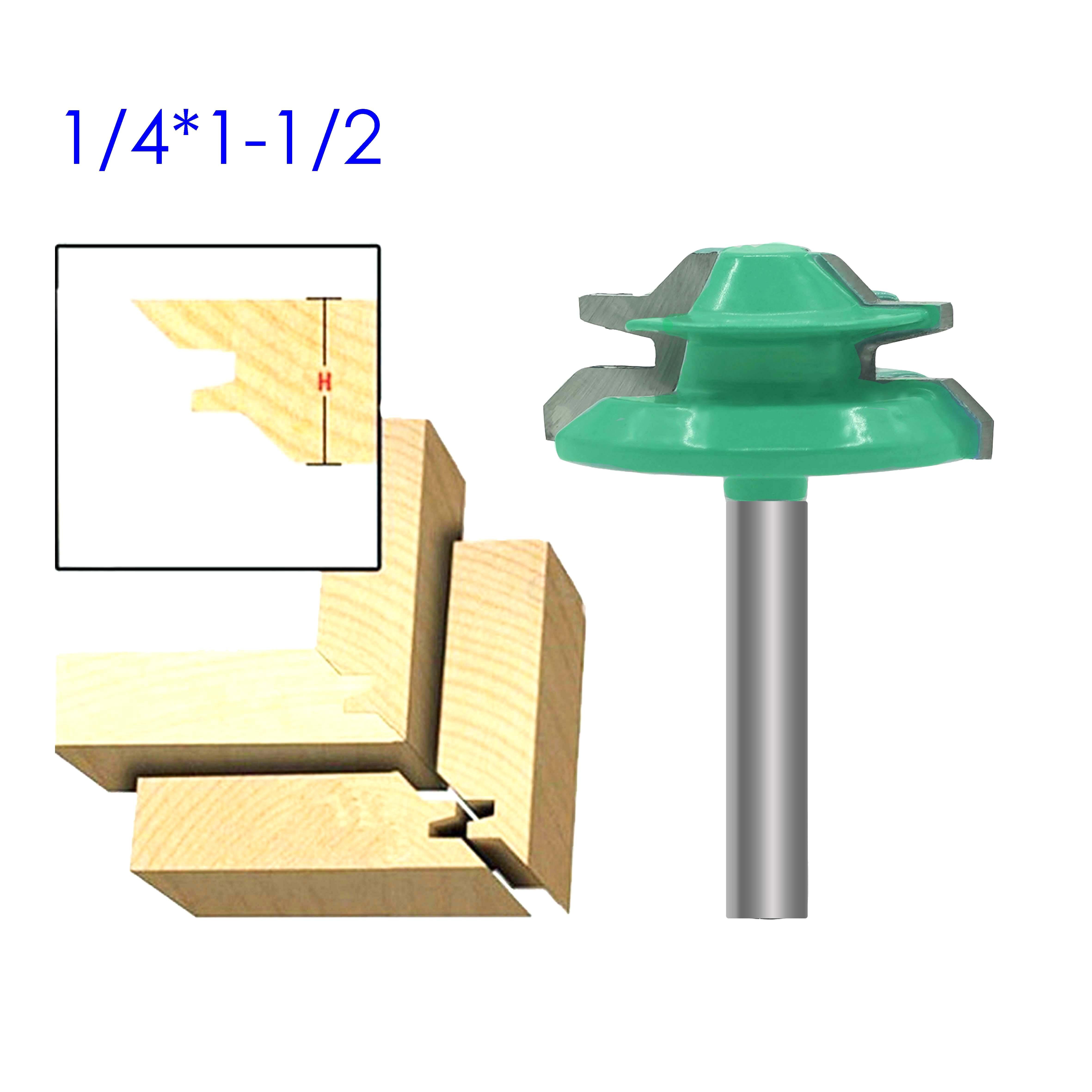 Small Lock Miter Router Bit Anti-kickback 45 Degree 1/4 Shank Tenon Cutter For WoodworkingTools Wood Router Bit  Tungsten Carbid