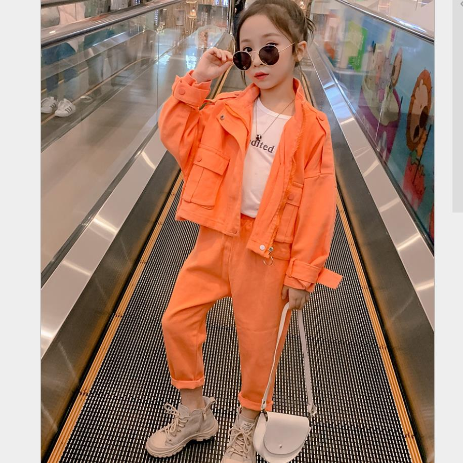 Girls Fashion Casual Sets 2020 Spring Autumn New Coats + Pants 2pcs Sets Children Pockets Suits Teenage Outerwear 4-14Y WS1465