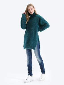 BAHTLEE Knitted Jumper Sweater Autumn Angora Pullovers Turtleneck Long-Sleeves Wool Loose-Style