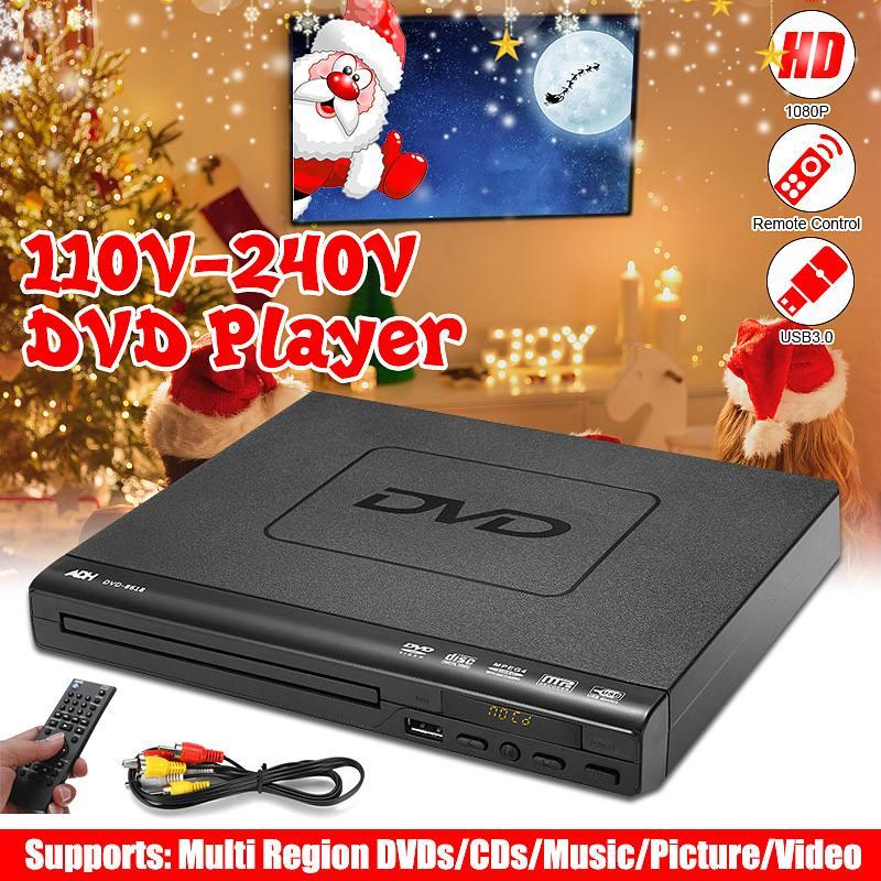 110V-220V Mini DVD Player USB HD Portable Multiple Playback ADH DVD CD SVCD VCD MP3 Disc LED Display Player Home Theatre System