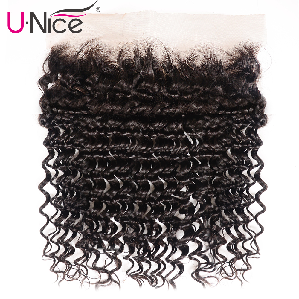 Unice Hair Brazilian Deep Wave Lace Frontal Closure 13*4 Ear To Ear Pre Plucked 100% Human Hair Closure Natural Color Remy Hair