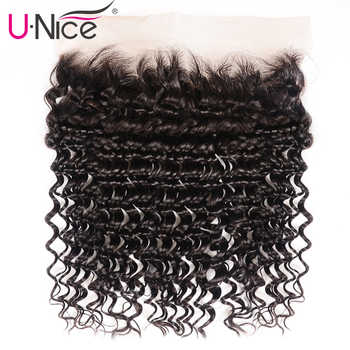Unice Hair Brazilian Deep Wave Lace Frontal Closure 13*4 Ear To Ear Pre Plucked 100% Human Hair Closure Natural Color Remy Hair - DISCOUNT ITEM  30% OFF All Category