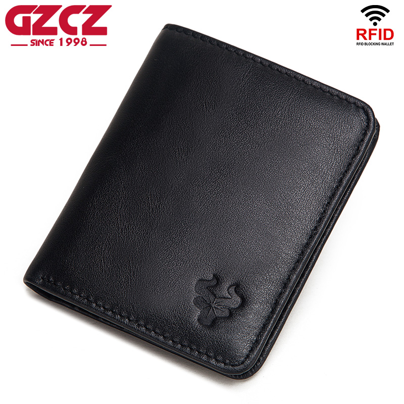 GZCZ 100% Genuine Leather Men's Wallets Thin Male Wallet Card Holder Slim Card Holder Cowskin Mini Coin Bag Soft Leather Black
