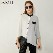 AMII Minimalism Autumn Women's Shirt Fashion Spliced Stand Collar Single-breasted Loose Women's Blouse Female Tops 12020230