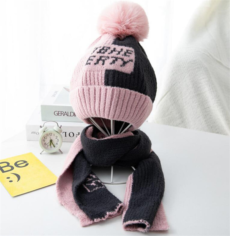Kid Winter Knit Hat And Scarf Child Warm Patchwork Hat 2 Piece Set 2019 Boy Girls Ear Protection Pom Pom Cap With Scarves 2-8T