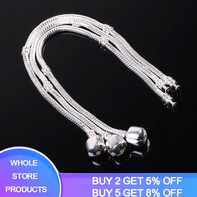 YANHUI 100% Original 925 Solid Silver Snake Bone Charm Bracelet Bangle Fine Jewelry Basic Charm Bracelets for Women YHS005