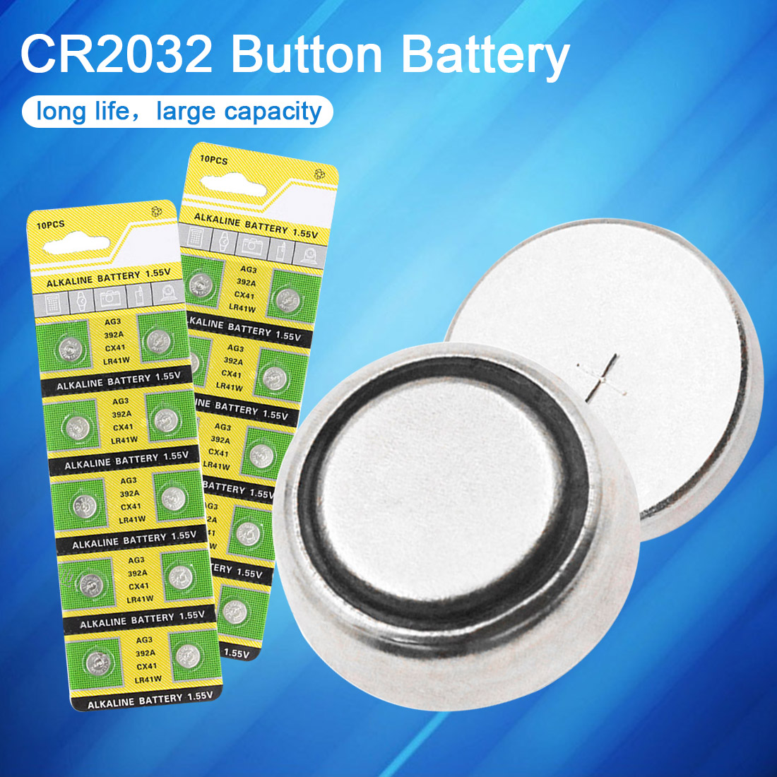 20PCS AG3 Button Battery 1.55V 42mAh Watch Batteries 384 392 392A CX41 LR41 Coin Cell Lithium Battery for Remote Controls Toy