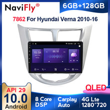 6G + 128G QLED 4G LTE WIFI Android 10 Radio samochodowe multimedialny odtwarzacz wideo nawigacja GPS dla Hyundai Solaris Accent Verna 2011-2016