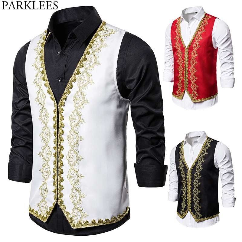 Gold Embroidery Luxury Vest Men Stylish Baroque Style Palace Costume Gilet Homme Stage Prom Show White Tuxedo Vests For Male 2XL