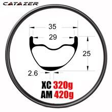 Lightweight T800 29er MTB XC AM FR 35x25mm Asymmetric All Mountain Bike Tubeless Carbon Rim for Carbon XC AM DH Wheels