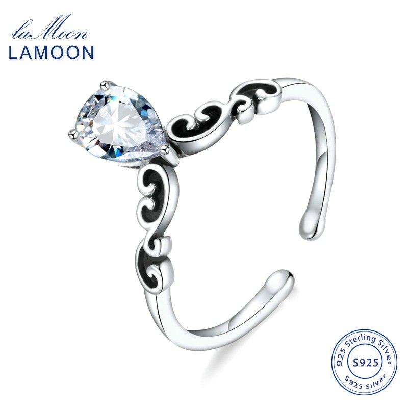 LAMOON 925 Sterling  Silver Open Rings For Women Cubic Zirconia Adjustable Ring Gift Fine Jewelry YBR07253-1