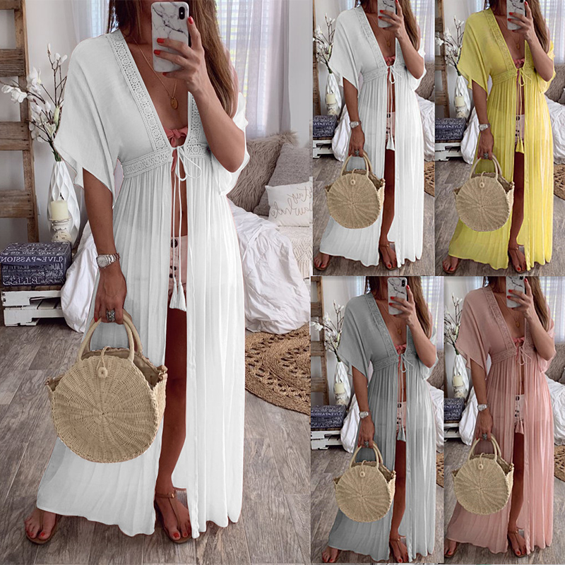 2019 Sexy Beach Cover Up Swimsuit White V Neck Hollow Out Plus Size Long Dress Women Bikini Swimwear Bathing Suit Beach Tunic image