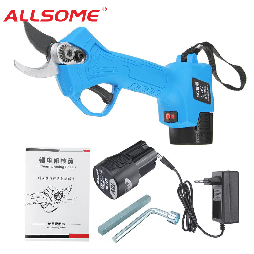 ALLSOME 16 8V Wireless 25mm Rechargeable Electric Pruning Shears Scissors Branch Tree Cutting Trimming Tools with TWO Batteries