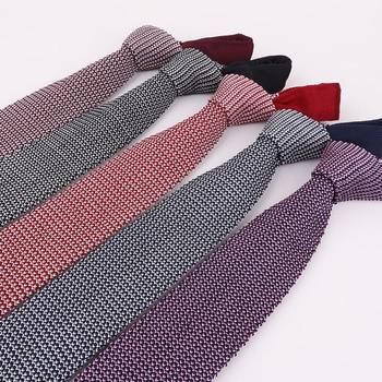 Linbaiway 5cm Knitted Tie Men's Business Knitted Tie Skinny Narrow Slim Neck Ties For Men Skinny Woven Cravat Custom Logo недорого