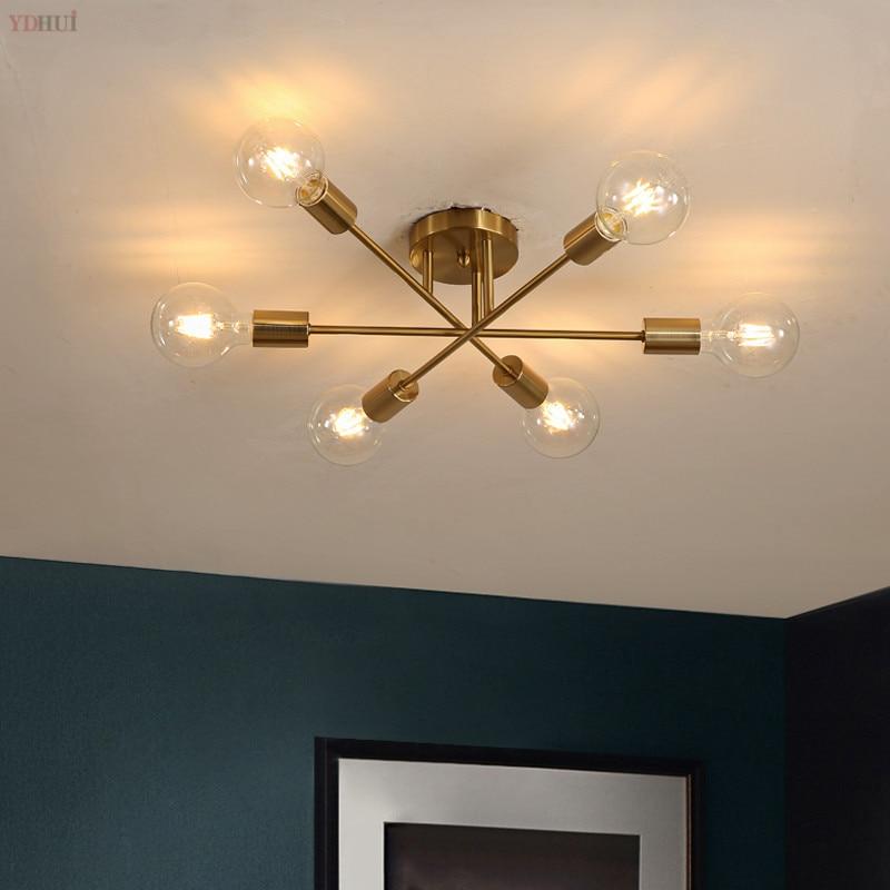 Modern chandelier Speinik lamps semi-embedded ceiling lamp brushed antique gold lighting 6 lights Nordic home decoration