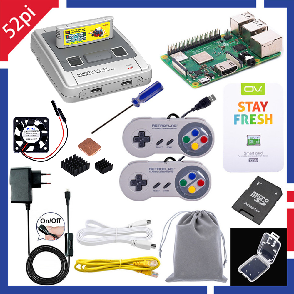 52Pi Retroflag Original SUPERPi CASE-J NESPi Case Kit With Optional Game Controller Carry Bag For Raspberry Pi 3 B Plus /3/2B