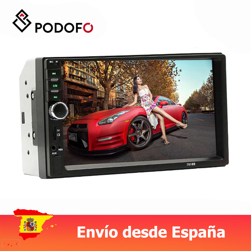 Podofo <font><b>2</b></font> <font><b>din</b></font> Car <font><b>Radio</b></font> Car Video Player 7'' Touch Screen Bluetooth FM AUX USB SD Function with steering wheel control image