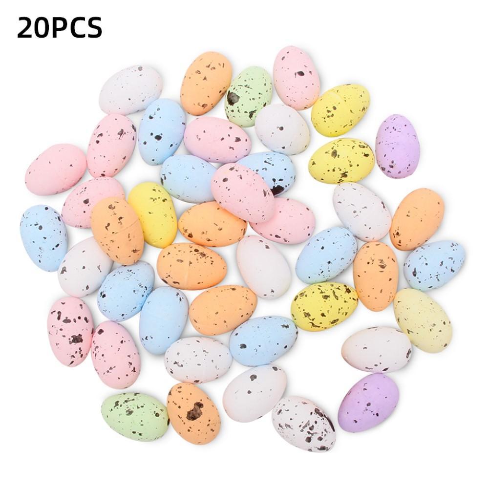 20Pcs Easter Foam Bright Color DIY Artificial Bird Pigeon Egg Home Party Favor Decor Kids Gift