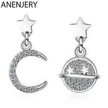 ANENJERY Silber Farbe Zirkon Mond Sterne Planeten Ohrringe Für Frauen Einfache Joker Asymmetrische Design Ohrringe S-E917