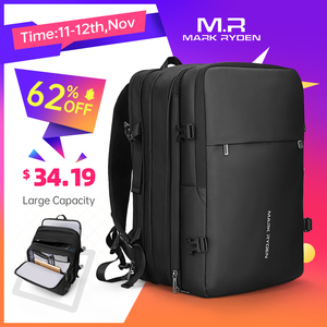 Image 1 - Mark Ryden Men Backpack Fit 17 inch Laptop USB Recharging Multi layer Space Travel Male Bag Anti thief Mochila