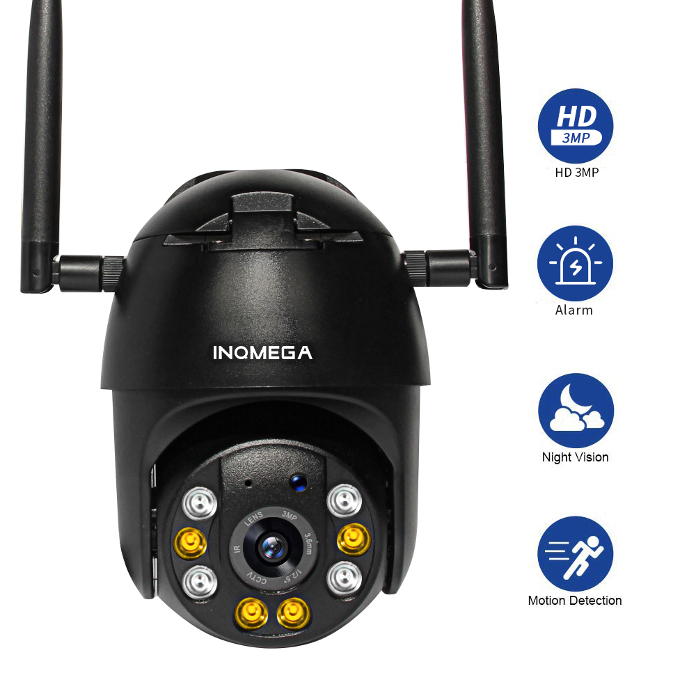 INQMEGA 1080P  PTZ IP Camera  Wifi Outdoor 4X Digital Zoom AI Human Detect Wireless Camera 1Inch WiFi Security CCTV Camera