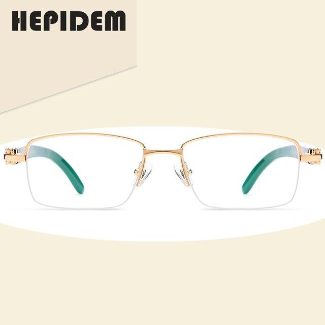 HEPIDEM gafas cuadradas de alta calidad para hombre y mujer, anteojos con montura de cuerno de búfalo, graduadas, de lujo, 8101027
