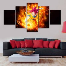 Art Poster Pictures Decoration HD Printing 5 Pieces Super Saiyan God Dragon Ball Modular Modern Home Living Room Wal