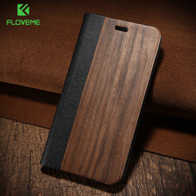 FLOVEME Wood Case For iPhone 11 Pro Max 11 X XR XS Max Case Wallet Stand Genuine Leather Flip Case For Samsung S10 Plus S10E