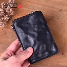 AETOO Short wallet men's leather retro old first layer leather men's wallet youth vintage personality vertical zipper wallet aetoo original retro wrinkled leather vertical wallet men s short paragraph the first layer of leather wallet zipper small card