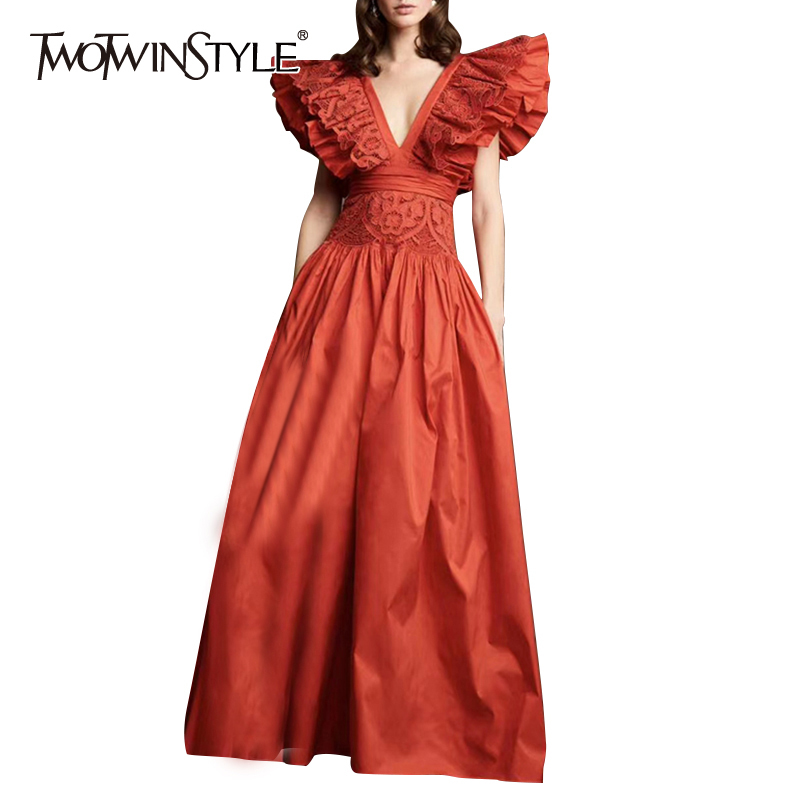 TWOTWINSTYLE Sexy Lace Patchwork Ruffle Dress For Women V Neck Sleeveless High Waist Maxi Dresses Female 2020 Summer Fashion New
