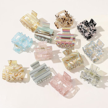 Korean Acrylic Hair Claws For Women Vintage Square Marble Textured Geometric Hair Crab Clamps Girls Hair Accessories Hair Clips women girls japanese style side hair clip water drop shape duckbill hairgrips colored marble textured printed hair accessories