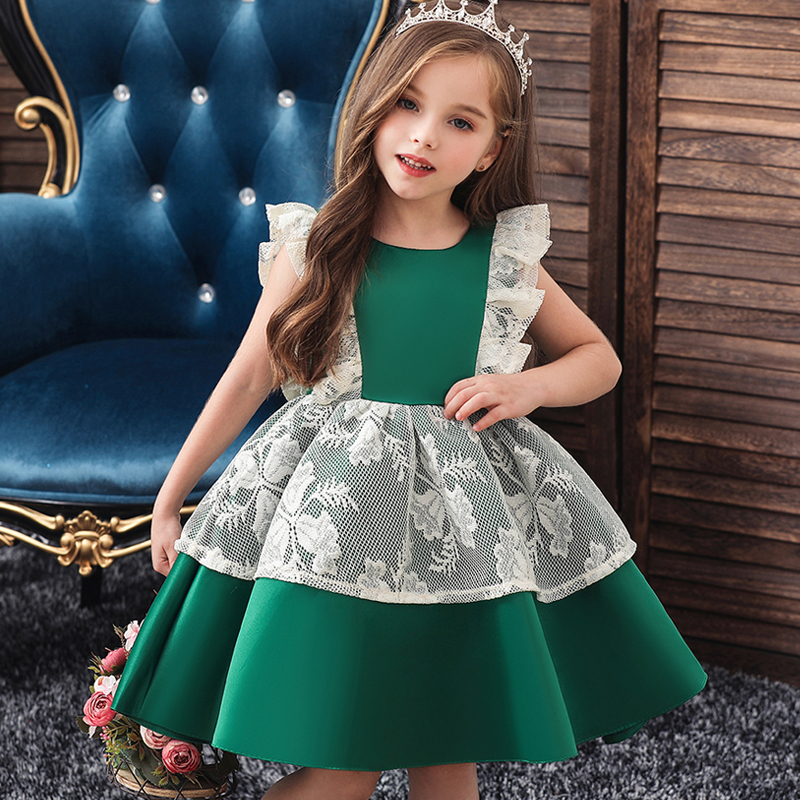 Flower Girl Wedding Party Dinner Lace Pompon Dress Baby Girl Exchange Dinner First Party Dress Birthday Dress Vestidos De Fiesta